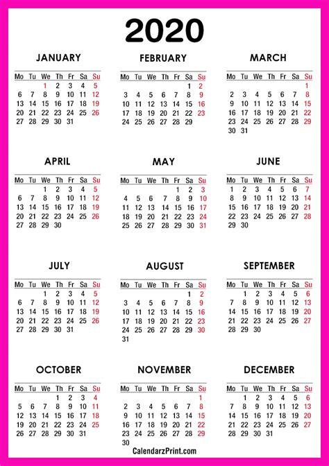 calendar printable  pink monday start
