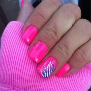 Neon pink Blue White Nail design Nails