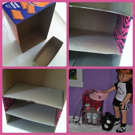 doll play day  recycle empty boxes  shelves barbie