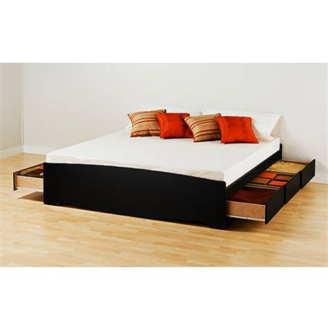 prepac brisbane king platform storage bed black walmart com