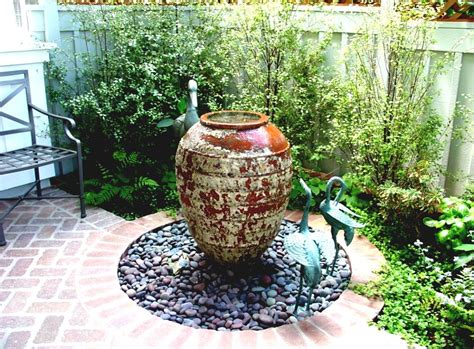 Simple Garden Fountains With Stones For Front Yard Garden