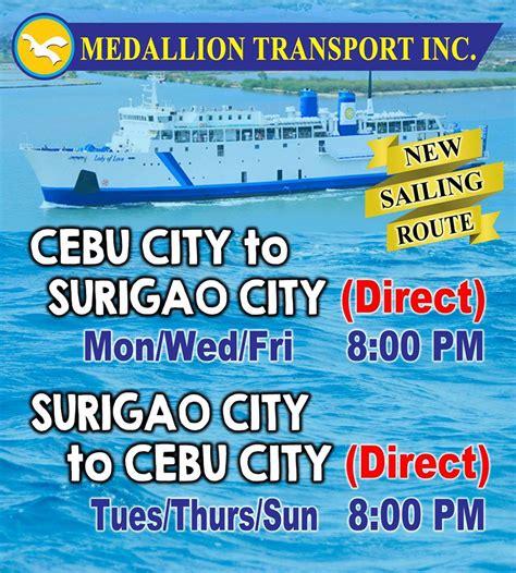 boat schedule  cebu city  surigao city