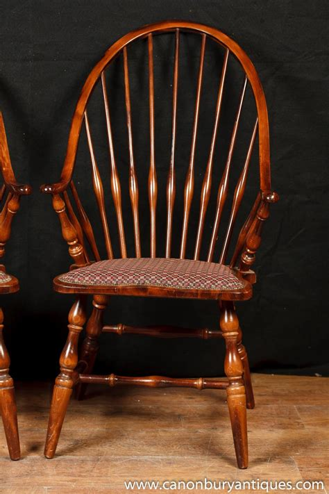 pair bow back arm chairs windsors farmhouse