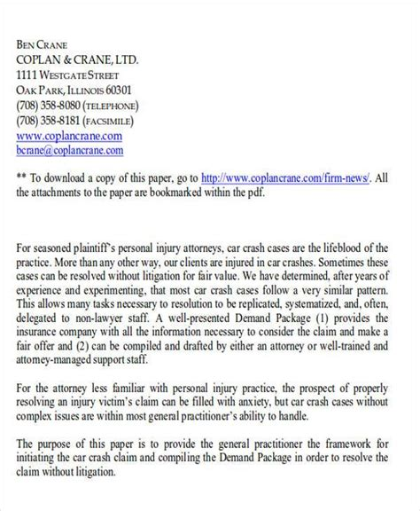 Demand Letter Template For Personal Injury by Collection Letter Exles Sle Demand Letters Demand