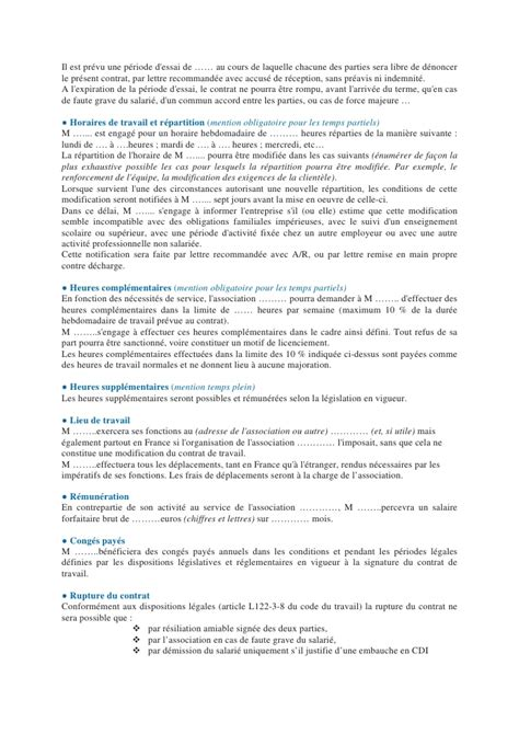 Modification Du Contrat De Travail En Cdd by 4 5 Exemple De Contrat Cdd