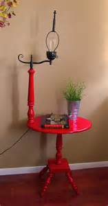 apple red and black vintage side table with l attached