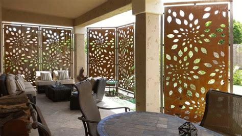 rusted steel privacy screen contemporary patio