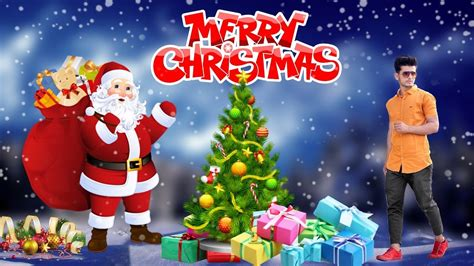merry christmas manipulation editing with picsart cute with santa claus youtube