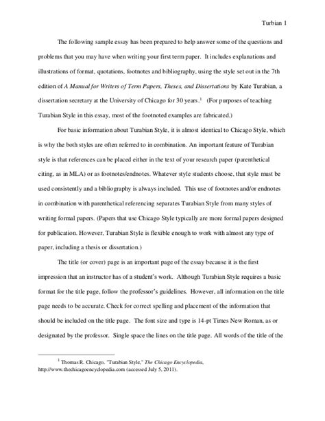 turabian format template turabian exle paper with footnotes sle paper peay stat