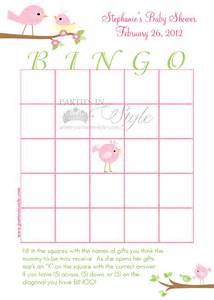Free Printable Baby Shower Bingo Template