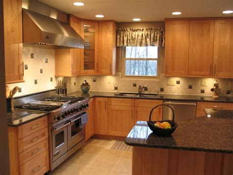 brown sapphire blue granite counters with oak