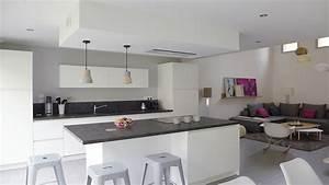 deco peinture cuisine ouverte sur salon cuisine idees With idee peinture salon cuisine ouverte