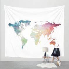 Tapisserie Carte Du Monde : grand format impression sur toile images 3 parties carte du monde tableau 020113 232 ~ Teatrodelosmanantiales.com Idées de Décoration