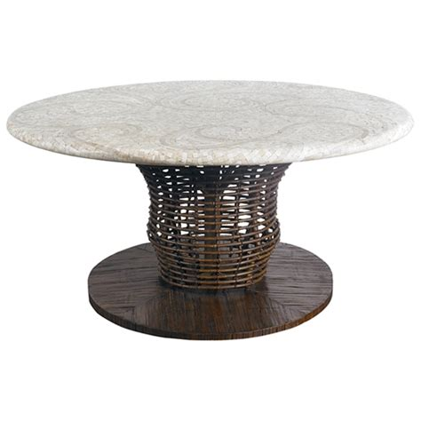 chat table mosaic top rattan weave cast