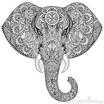 elephant zentangle mandala en  tattoo elefanten
