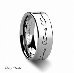 tungsten wedding band tungsten ring hook tungsten ring With mens fishing wedding rings