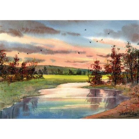 Original Watercolor Painting Creek Sunsets Western Landscape