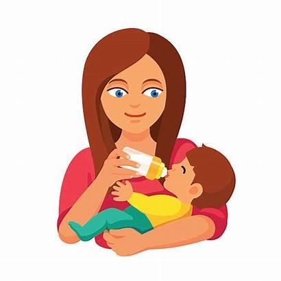 Feeding Mother Holding Bottle Milk Mom Clip