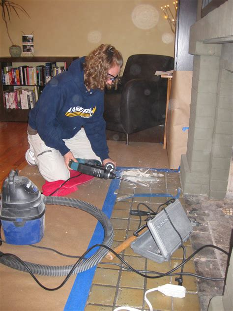 we rented a demolition hammer to remove the tile