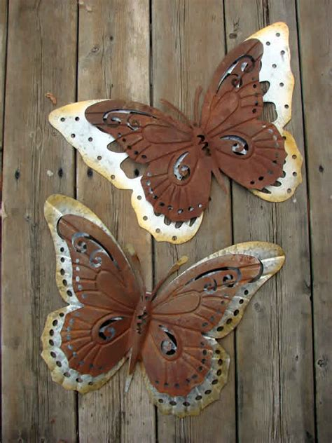 Butterfly Galvanized Metal Wall Decor Set Two