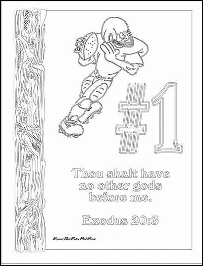 Coloring Ten Commandments Pages Commandment Football Children