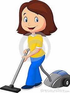 Mom Cartoon With Vacuum Cleaner Stock Vector
