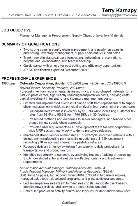 Supply Chain Planner Cover Letter by Sle Resume For A Planner Or Manager Of Procurement