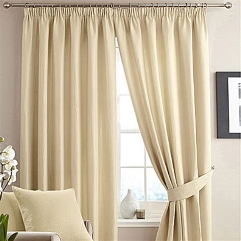 Cream   Alice Waffle Lined Pencil Pleat Curtains   The