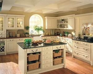 farmhouse look on a budget country kitchen designs simple With best brand of paint for kitchen cabinets with old map wall art