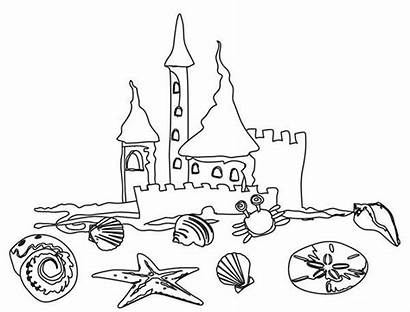 Coloring Sand Beach Castle Drawing Pages Vacation