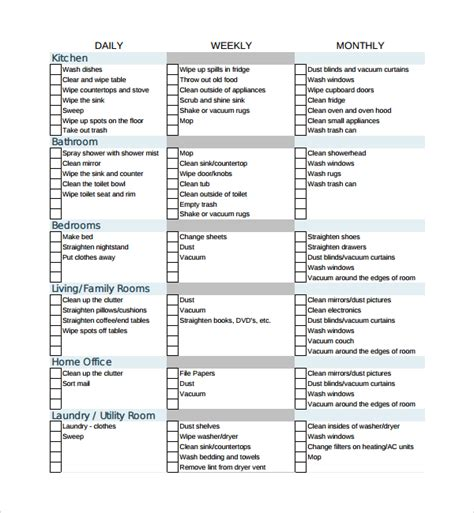 professional house cleaning checklist template planner