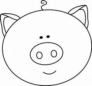Black and White Pig Face Clip Art - Black and White Pig ...