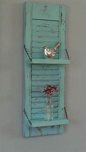 Rustic shelf shabby chic aqua robins egg blue red unique