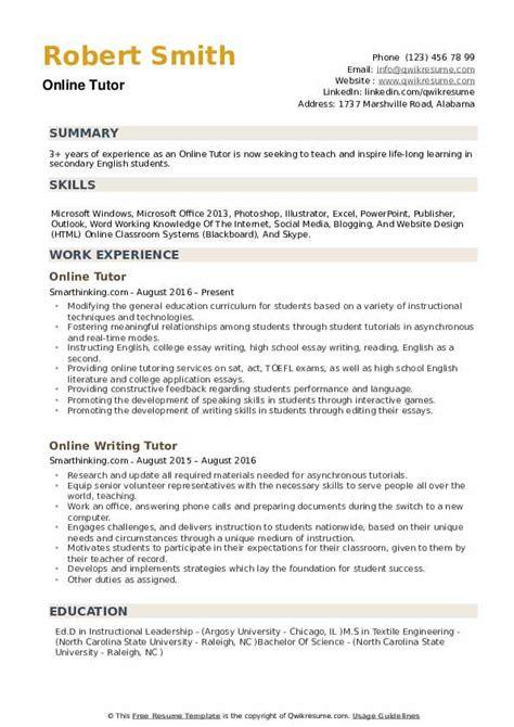 Tutoring Resume by Tutor Resume Sles Qwikresume