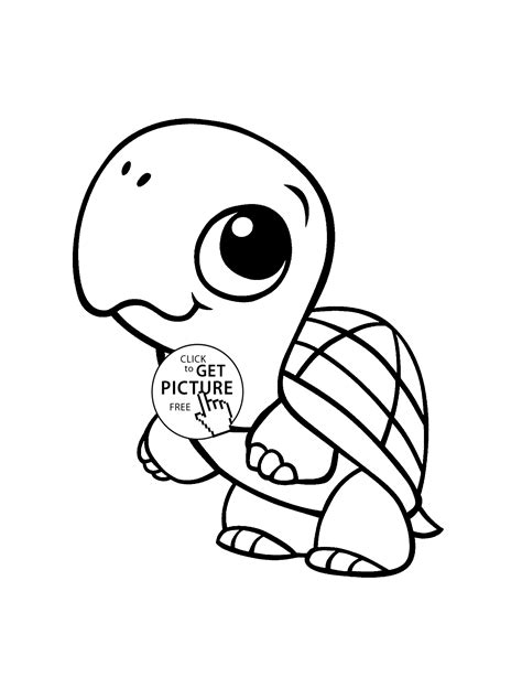 Baby Turtle Animal Coloring Page For Kids Baby Animal