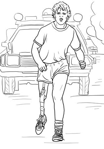 terry fox run coloring page supercoloringcom