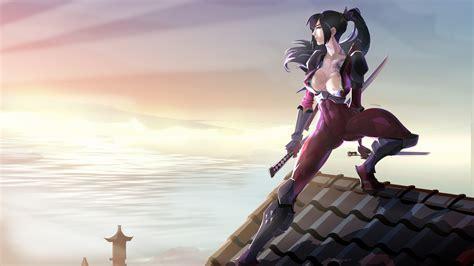 2560x1440 On The Roof, Warrior, Samurai, Girl Wallpapers