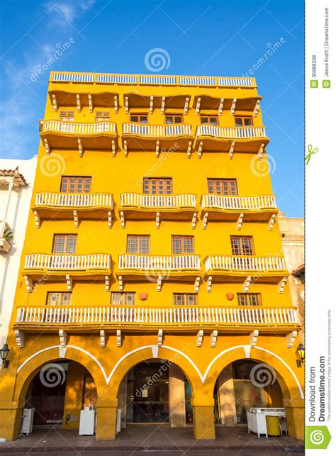yellow colonial architecture stock photo image  city