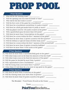 Printable Weekly Football Pool Sheet Super Bowl Prop Pool Printable Prediction Pool