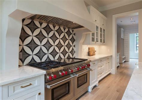 black and white kitchen backsplash kitchen cooktop with black and white cement circle backsplash tiles transitional kitchen