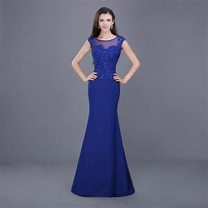 elegant cheap long mermaid royal navy blue prom dresses With robe de soirée 2015