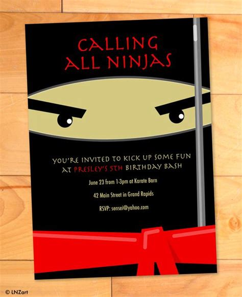 ninja birthday invitations karate kicks birthday card
