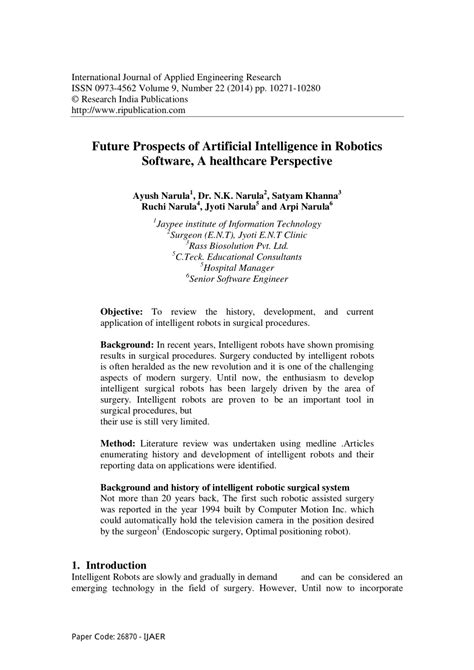 (PDF) Future prospects of artificial intelligence in