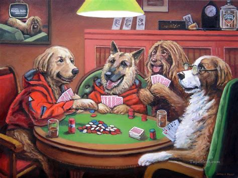 Dogs Playing Poker 3 Facetious Humor Pets Painting In Oil