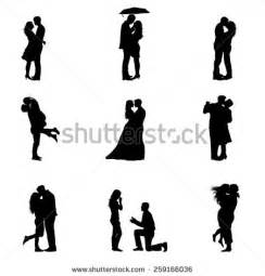 Love Couple Silhouettes Vectors
