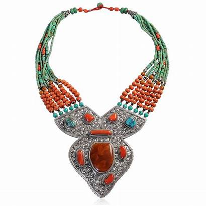 Turquoise Coral Silver Tibetan Amber Necklace Mila