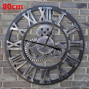 Horloge 80 Cm : 80cm large wall clock saat 3d gear clock wooden duvar saati wall watch reloj pared relogio de ~ Teatrodelosmanantiales.com Idées de Décoration