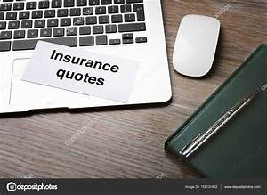 Card with text INSURANCE QUOTES and laptop on wooden background — Stock Photo © belchonock ...