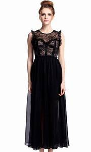 Black Sleeveless Lace Chiffon Full-Length Dress pictures ...