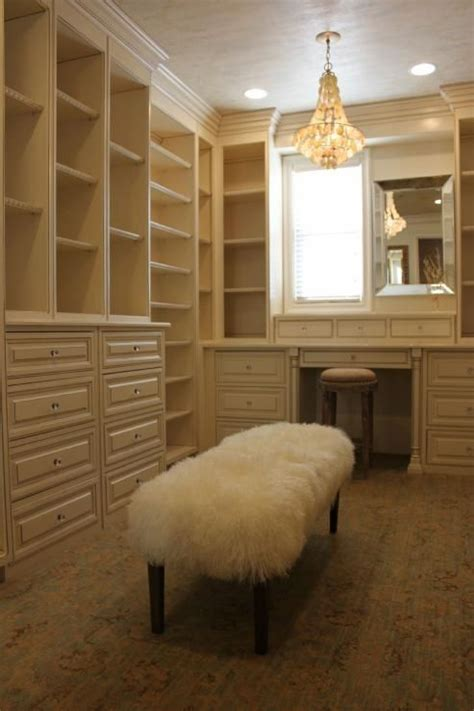 Closet Vanity Ideas by White Built In Shelves And Built In Vanity Walk In Closet